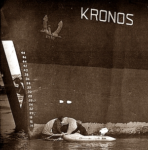 Gerhard and Heiner at the 'Kronos' bow